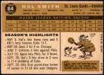 1960 Topps #84  Hal R. Smith  Back Thumbnail