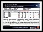 2009 Topps #80  DeMarcus Ware  Back Thumbnail
