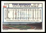 1992 Topps Traded #11 T Todd Benzinger  Back Thumbnail