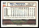 1992 Topps Traded #86 T Bill Pecota  Back Thumbnail