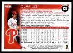 2010 Topps #132  Cliff Lee  Back Thumbnail