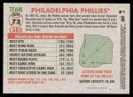 2005 Topps Heritage #72   Philadelphia Phillies Team Back Thumbnail