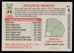 2005 Topps Heritage #95   Atlanta Braves Team Back Thumbnail