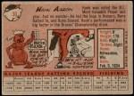 1958 Topps #30 WN Hank Aaron  Back Thumbnail