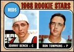 1968 Topps #247   -  Johnny Bench / Ron Tompkins Reds Rookies  Front Thumbnail