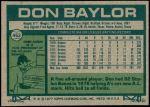1977 Topps #462  Don Baylor  Back Thumbnail