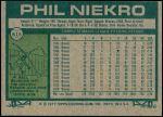 1977 Topps #615  Phil Niekro  Back Thumbnail