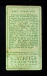 1911 T205  Fred Jacklitsch  Back Thumbnail