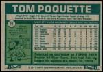 1977 Topps #93  Tom Poquette  Back Thumbnail