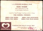 1959 Morrell Meats  Duke Snider  Back Thumbnail