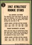 1967 Topps #33   -  Sal Bando / Randy Schwartz Athletics Rookies Back Thumbnail