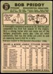 1967 Topps #26 TR Bob Priddy  Back Thumbnail