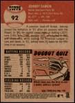 2002 Topps Heritage #92 N Johnny Damon  Back Thumbnail