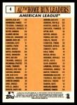 2012 Topps Heritage #4   -  Jose Bautista / Curtis Granderson / Mark Teixeira / Mark Reynolds / Adrian Beltre / Ian Kinsler NL HR Leaders Back Thumbnail