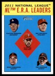 2012 Topps Heritage #5   -  Clayton Kershaw / Roy Halladay / Cliff Lee / Ryan Vogelsong / Tim Lincecum AL ERA Leaders Front Thumbnail