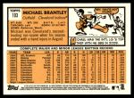 2012 Topps Heritage #103  Michael Brantley  Back Thumbnail