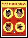 2012 Topps Heritage #169   -  Luis Marte / Brett Pill / Efren Navarro / Jared Hughes Rookies Front Thumbnail