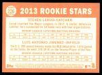 2013 Topps Heritage #226   -  Steven Lerud / Luis Antonio Jumenez Rookies Back Thumbnail