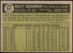 1961 Topps #247  Billy Goodman  Back Thumbnail