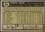 1961 Topps #454  Pumpsie Green  Back Thumbnail