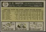 1961 Topps #124  J.C. Martin  Back Thumbnail