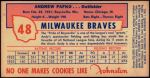 1954 Johnston Cookies #48  Andy Pafko    Back Thumbnail