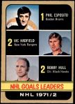 1972 O-Pee-Chee #272   -  Phil Esposito / Vic Hadfield / Bobby Hull Goals Leaders Front Thumbnail