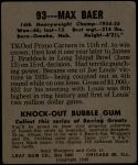 1948 Leaf #93  Max Baer  Back Thumbnail