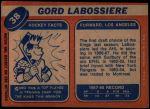 1968 Topps #38  Gord Labossiere  Back Thumbnail