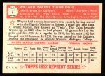 1952 Topps REPRINT #7  Wayne Terwilliger  Back Thumbnail