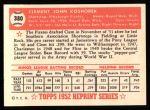 1952 Topps REPRINT #380  Clem Koshorek  Back Thumbnail