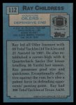 1988 Topps #112  Ray Childress  Back Thumbnail