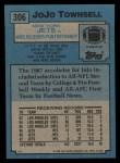 1988 Topps #306  JoJo Townsell  Back Thumbnail