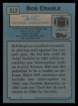 1988 Topps #312  Bob Crable  Back Thumbnail