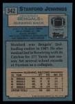 1988 Topps #342  Stanford Jennings  Back Thumbnail