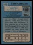 1988 Topps #41  Tom Rathman  Back Thumbnail