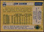 1982 Topps #255  Jim Zorn  Back Thumbnail