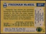 1982 Topps #176  Freeman McNeil  Back Thumbnail