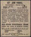 1949 Leaf #57  Jim Youle  Back Thumbnail
