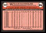 1989 Topps Traded #100 T Willie Randolph  Back Thumbnail
