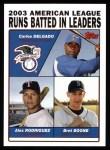 2004 Topps #340   -  Carlos Delgado / Alex Rodriguez / Bret Boone AL RBI Leaders Front Thumbnail