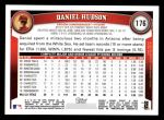 2011 Topps #176  Daniel Hudson  Back Thumbnail