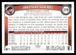 2011 Topps #229  Jonathan Sanchez  Back Thumbnail