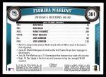 2011 Topps #361   Marlins Team Back Thumbnail