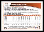 2013 Topps #38  Brian Wilson   Back Thumbnail