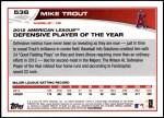 2013 Topps #536  Mike Trout  Back Thumbnail