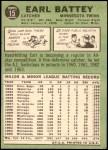1967 Topps #15  Earl Battey  Back Thumbnail