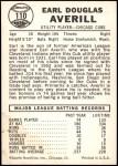 1960 Leaf #110  Earl Averill Jr.  Back Thumbnail