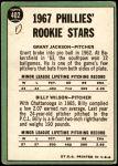 1967 Topps #402 S  -  Grant Jackson / Billy Wilson Phillies Rookies Back Thumbnail