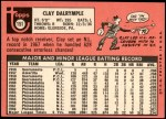 1969 Topps #151 PHL Clay Dalrymple  Back Thumbnail